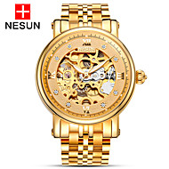 nesun Men's Skeleton Watch Automatic self-winding Hollow Engraving Stainless Steel Band Gold