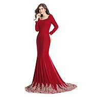 Formal Evening Dress Trumpet / Mermaid Square Sweep / Brush Train Jersey with Appliques / Lace