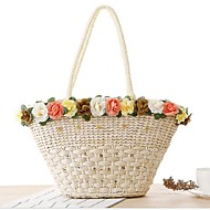 Women Straw Casual Tote White