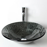 Round Cap Contemporary Bathroom Tempered Glass Sink Set