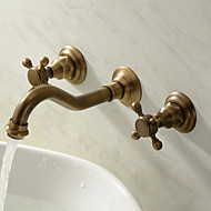 Wall Mounted Two Handles Three Holes in Antique Brass Bathroom Sink Faucet