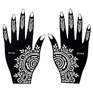 2pcs Temporary Tattoo Stencil Fake Black Henna Airbrush Tattoo Hands Art Sticker Template Gift S112