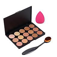 15 cores creme para o rosto contorno maquiagem concealer palette + sopro esponja pincel de pó de blush corretivo fundação