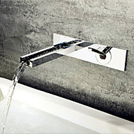 Modern Muurbevestigd Waterval with  Keramische ventiel Single Handle twee gaten for  Chroom , Wastafel kraan
