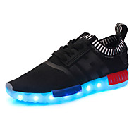 LED Light Up Shoes, Boy's Sneakers Spring Fall Comfort Tulle Athletic Casual Platform Lace-up Black Blue