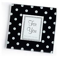 """Timeless Traditions"" Elegant Black & White Dot Glass Photo Frame Coasters (1pcs)"