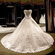 공주 웨딩 드레스 채플 트레인 끈없는 스타일 튤 와 비즈