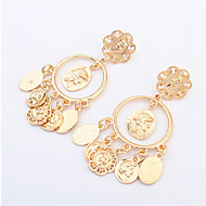2015 High Quality Brand Head Retro Avatar Gold Earrings For Women Metal Big Circle Coin Pendant Earrings