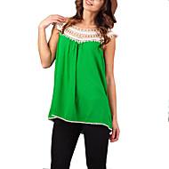 Tee-shirt Aux femmes,Mosaïque Décontracté / Quotidien simple Eté Sans Manches Col Arrondi Bleu / Blanc / Vert / Orange Coton / Lin Fin