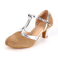 Non Customizable Women's Dance Shoes Modern Suede Cuban Heel Black/Blue/Brown