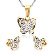 Ékszer készlet Divat Menyasszonyi Európai Rozsdamentes acél Animal Shape Pillangó Arany Nyakláncok Naušnice MertEsküvő Parti Napi