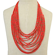 Retro Gem Exaggerated Bohemian Droplets Multilayer Beaded Necklace
