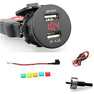 iztoss 2.1a& 2.1a wodoodporna podwójna ładowarka USB ładowarka do telefonu Gniazdo zasilania z woltomierz czerwonym świetle