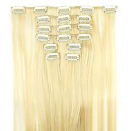 perruque cheveux raides prolongement d'or de cheveux synthétiques 62cm haute température de longueur de fil