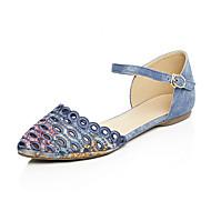 נעלי נשים-סנדלים-ג'ינס / חומרים בהתאמה אישית-שפיץ / רצועת קרסול-כחול / אפור / Almond-שטח / שמלה / קז'ואל-עקב נמוך