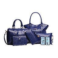 női táska állítja pu minden évszakban esemény / party hordó cipzár fukszia, sárga, piros, fehér, fekete