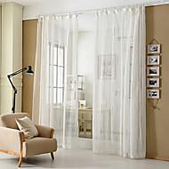Dva panely Moderní S proužky Bílá Obývací pokoj Směs polybavlny Sheer Záclony Shades