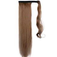 ruskea 60cm synteettinen korkean lämpötilan lanka peruukki suorat hiukset poninhäntä väri 12