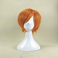 새로운 도착 캡 오렌지 색 짧은 곱슬 합성 머리 가발 내열 cosplays 파티 가발