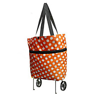 Dot Oxford Cloth Folding Dual Tugboat Package Portable Collapsible Shopping Bag Tote