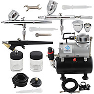 OPHIR 3-Airbrush Spray Gun Kits with Air Tank Compressor for Hobby Model Airplane Car Cake Decoration Makeup