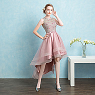 Formal Evening Dress Ball Gown Jewel Asymmetrical Satin / Tulle with Beading / Bow(s) / Sash / Ribbon / Sequins