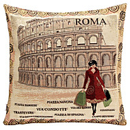 Linen Pillow Cover/Case ,  Woven Traditional/Classic Roma Woman Feature