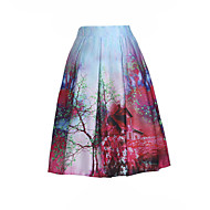 Women's Print A Line High Rise Swing Pleated Bubble Skirts,Vintage / Boho Knee-length