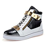 Herrer Sneakers Komfort Vulcanized Sko Mikrofiber Forår Sommer Efterår Vinter Atletisk Afslappet Komfort Vulcanized SkoLynlås Snøring