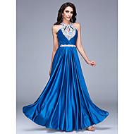 Formal Evening Dress A-line Halter Floor-length Satin with Beading
