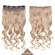 kudrnaté klip na prodlužování vlasů 1ks 24inch 60cm příčesky # 18/613 smíšené barvy stočit vlnité dlouhé syntetické prodlužování vlasů