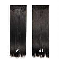 5 Clips in Hair Clip in Synthetic Hair Extensions 24inch 120g/pc Resistance High Temperature #1Jet Black Color