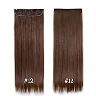 24inch 60cm # 12 long clip de cheveux raides dans les extensions de cheveux de postiches synthétiques pour les belles femmes