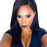 Najwięcej naturalna czarna jedwabna prosto koronki przodu peruk syntetycznych 100% resisitant ciepła syntetycznej włosów dla kobiet w