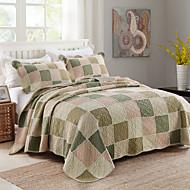 100% Cotton Plaid 3 pieces Quilted Bedspread set , 3 Color King Size