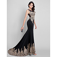 Formal Evening Dress Trumpet / Mermaid Scoop Sweep / Brush Train Spandex with Crystal Detailing