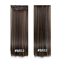 à long clip cheveux raides 24inch 60cm dans les extensions de cheveux # 8/613 postiches synthétiques pour les belles femmes