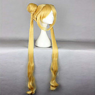 Hot Sell High Quality Heat Resistant 100cm Cute Golden Curly Wavy Women Cosplay Sailor Moon Wig +Long Pigtails