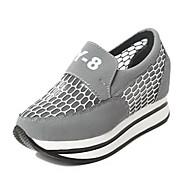 Dame-Fleece-Kilehæl-Komfort-Sneakers-Fritid-Svart / Rød / Grå