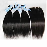 4db sok perui egyenes szűz haj Bezárásra 3bundles feldolgozatlan perui emberi haj sző a 1db csipke bezárása