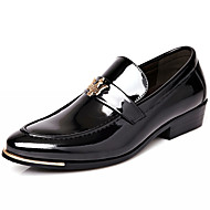 Men's Shoes Patent Leather Party & Evening/Casual Oxfords Party & Evening / Casual  Chunky Heel Ruched Black/Blue/White