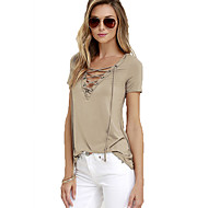 Women's Solid V Neck Sexy Short Sleeve T-shirt