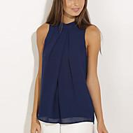 Damen Solide Einfach / Street Schick Ausgehen Bluse,Halter Ärmellos Blau Polyester Dünn