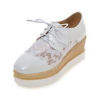 Oxford-kengät-Platform-Naisten kengät-Tekonahka-Valkoinen-Puku / Rento-Creepers / Neliökärkiset