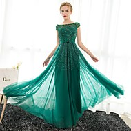 Formal Evening Dress Sheath / Column Bateau Floor-length Satin / Tulle with Crystal Detailing
