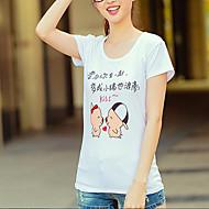 Mulheres Camiseta Casual Activo Verão,Estampado Branco Algodão Decote Redondo Manga Curta Fina