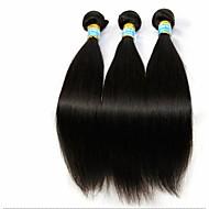 3 Bündel brasilianischen reinen Haares gerade mit Spitze Schließung unverarbeitete Menschenhaar spinnt und Verschlüssen frei / Mitte / 3