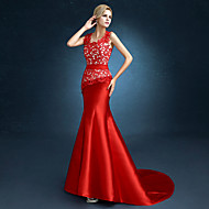 Formal Evening Dress Trumpet / Mermaid Jewel Sweep / Brush Train Satin with Lace