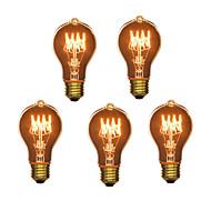 5pcs a19 e27 40W lâmpada incandescente vintage para bar doméstico café do hotel (220-240V)