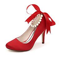 Women's Spring / Summer / Fall / Winter Heels / Round Toe Satin Wedding / Party & Evening Stiletto Heel PearlBlack / Blue / Pink / Red /